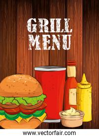 grill menu with delicious hamburger in wooden background