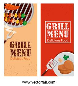 set poster of grill menu with delicious food