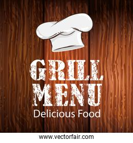 poster of grill menu lettering in wooden background