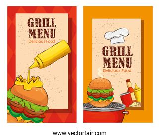 set poster of grill menu with delicious burgers