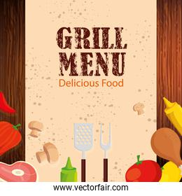 grill menu with delicious food and vegetables