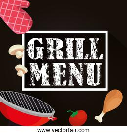 grill menu with oven and delicious food