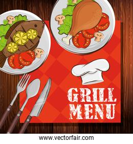 grill menu with tablecloth and delicious food