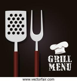 grill menu with cutlery and hat chef