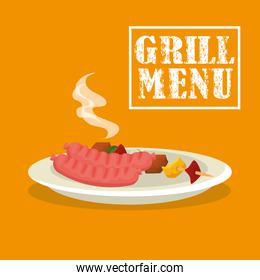grill menu with sausages and brochette in dish