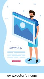 man with web page in scene teamwork