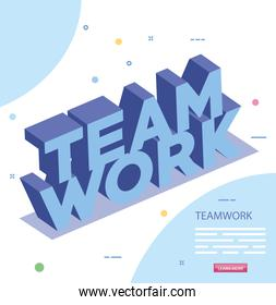 lettering of teamwork isolated icon