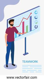 man with infographic in scene teamwork