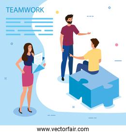 work team group with puzzle piece and envelope