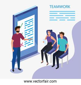 work team group with smartphone device