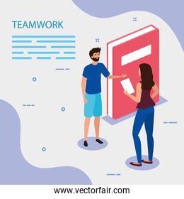 work team couple with book