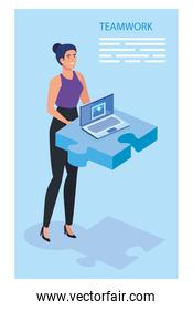 businesswoman with puzzle piece and laptop