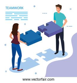 work team couple with puzzle pieces