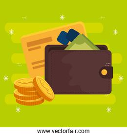 wallet with coins and credit card