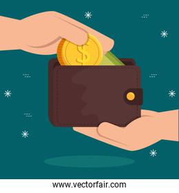hands with wallet and coin