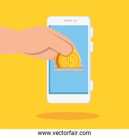 hand and smartphone with coin isolated icon
