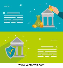 set of banks structures with icons