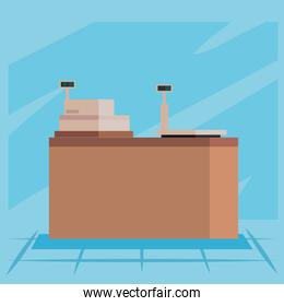 Shopping cash register and scale vector design