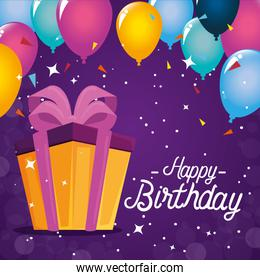 Happy Birthday gift and balloons vector design