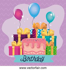 Happy Birthday gifts and balloons vector design