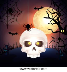 skull in the dark night and icons of halloween