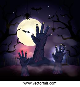 hands of zombie in the dark night halloween scene