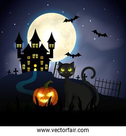 cat with pumpkin and haunted castle in halloween scene