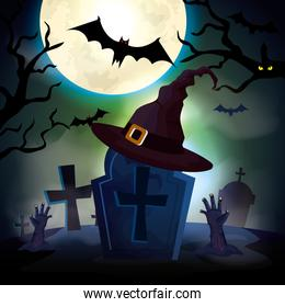 tomb with hat witch in the dark night scene halloween