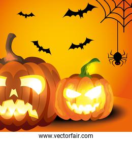 pumpkins with icons of halloween