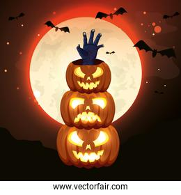 halloween pumpkin traditional isolated icon