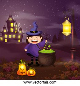 girl disguised of witch in scene halloween