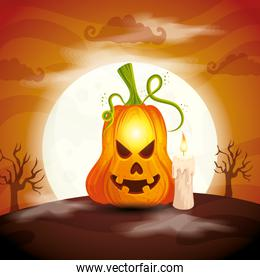 smiling pumpkin with candle in scene halloween