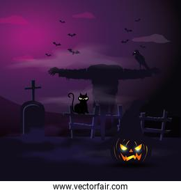 scarecrow with cat and tomb in scene halloween
