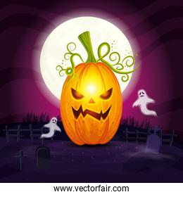 halloween pumpkin with ghosts in cemetery
