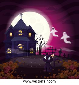 haunted house with cat in scene halloween
