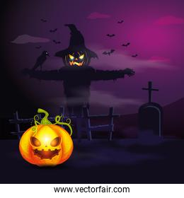 halloween pumpkin with scarecrow in dark night