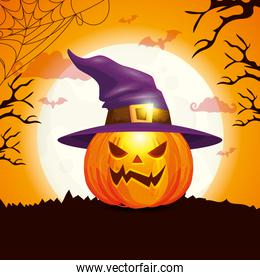 pumpkin with hat witch in scene halloween