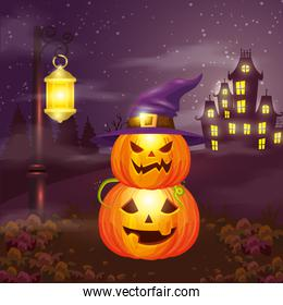 pumpkins with hat witch in scene halloween