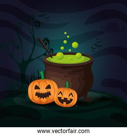 pumpkins with cauldron in scene halloween
