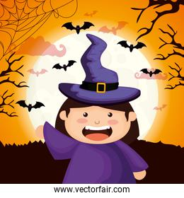 cute girl disguised of witch in scene halloween