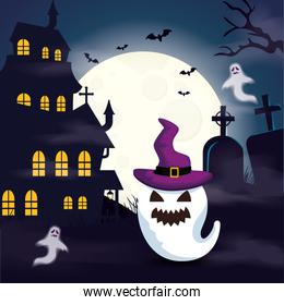halloween haunted castle with ghosts