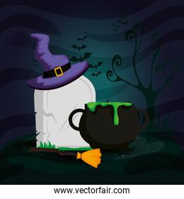 tomb with cauldron and icons halloween