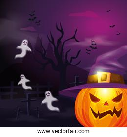 pumpkin with hat witch and ghosts in scene halloween
