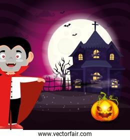 boy disguised of dracula with haunted house