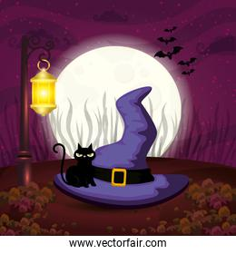 witch hat with cat in scene halloween