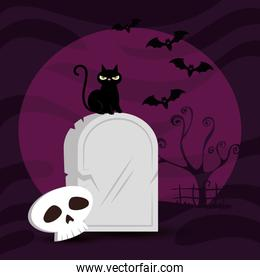 tomb with cat and skull in scene halloween