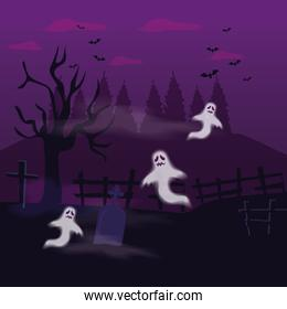 ghosts mysteries with tomb in scene halloween