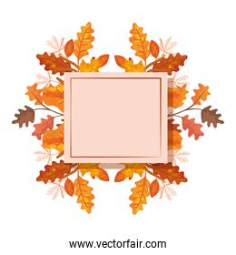 square frame with autumn leafs decoration