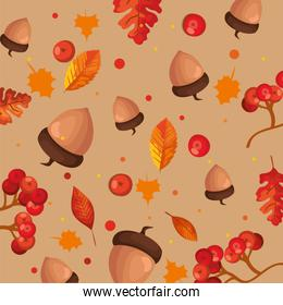 leafs and nuts autumn pattern background