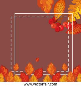 frame decoration with leafs of autumn